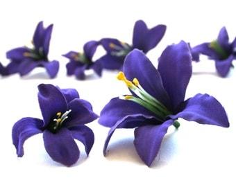 10 Tiger Lilies in Royal Purple - Artificial Flowers, Silk Flower Heads - PRE-ORDER
