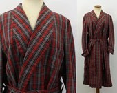 60s Plaid Robe Men's Kimono Style Bathrobe Retro Red Shawl Collar Wrap Pockets Ward Cleaver Loungewear Vintage 1960s Short Hipster PJs M