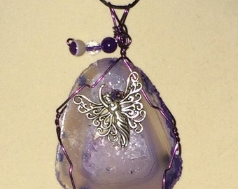 Wire Wrapped Agate Slice Pendant with Fairy