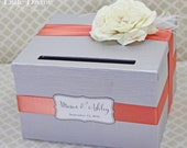 Wedding Card Box Silver Peach Coral Flower and Feather Money Holder Custom
