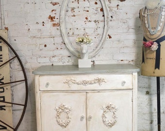 Painted Cottage Chic Shabby Romantic French Server/ Buffet SV608