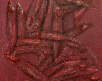 minimalist painting print: Monger (pink)