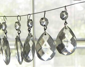 """12 Vintage Almond Shape Tear Drop Glass Chandelier Pendants 2""""L Lamp Parts"""