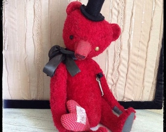 St. Valentine Day SALE 17 inch Artist Handmade Red OOAK Mohair Teddy Bear  Mr Keyholder by Sasha Pokrass