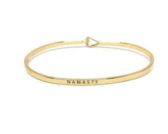 Namaste Bangle, Thin Gold Bangle, Simple Gold Bangle Bracelet, Gold Engraved Bangle, Handstamped, Stacking Bracelet