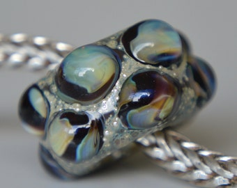 Silver Core Options - OOAK Silver Foil Handmade Lampwork Glass European Charm Bead - SRA - Fits all bracelets