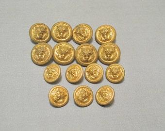 Vintage Fierce Tiger Head Brass Buttons Set of 15 Rare / Golden Roaring Tiger Face Metal Shank Jacket Coat Buttons Jewelry Making Steampunk