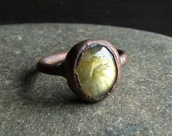 Labradorite Ring Gemstone Raw Copper Crystal Ring Cocktail Ring Rough Stone Jewelry Size 7.5