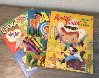 Vintage Coloring Books - Set of 3 - Great unused condition