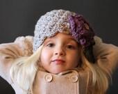 Crochet PATTERN Chloe Beanie with Rose Crochet Hat Pattern 5 Sizes for Baby, Toddler, Child, Girls Ladies