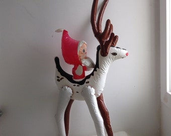 Vintage Blow up Santa riding Reindeer.   Inflatable Christmas Decoration.  Made in Taiwan.   1970's.