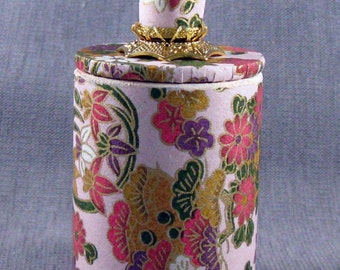 Small Washi Paper covered Round Box with Lid