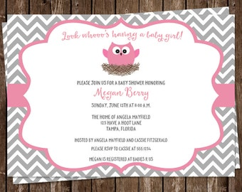 Owl Baby Shower Invitations, Girls, Pink, Gray, Grey, Its a Girl, Chevron, Stripes, Feather, Nest, 10 Printed Invites, FREE Shipping, Custom