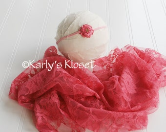 Berry Pink Floral Lace Fabric Stretch Wrap, Newborn Flower Headband, Baby stretch Wraps, Pink Baby Girl Wraps, Layering Fabric Props