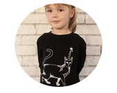 Screenprinted T Shirt, Youth Long Sleeved Cat Tshirt, Black Cotton Crewneck, Caticorn, Horned Kitty, Kids Children Long Sleeves Hand Printed