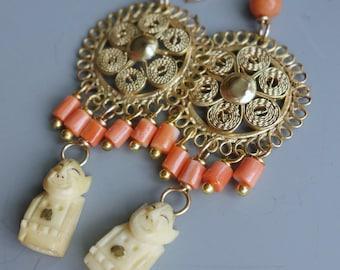 Billiken Coral Filigree Earrings