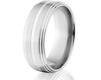 New 8mm Cobalt Ring with Sterling Silver Inlay and Free Sizing 4-17