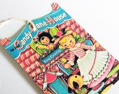 Christmas Gift Tags - Retro Xmas Tags - Set of 3 - 1950's Color Book - Candy Cane House - Doll and Dog - Vintage Look - Red White Blue
