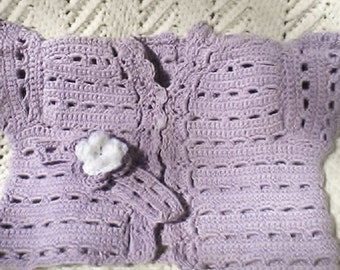 Crocheted Infant Sweater Vest Flower Headband Wisteria Cotton Yarn 6 12 mo