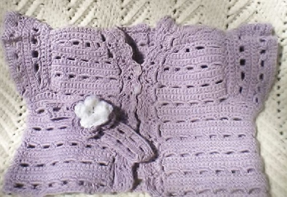 Crochet Wisteria Flower Pattern : Crocheted Infant Sweater Vest Flower Headband Wisteria Cotton