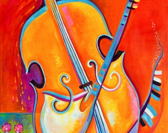 Abstract Painting Original Oil on canvas Music of Life Marlina Vera Fine Art Gallery Modern Contemporary Large artwork fauvism cello jazz