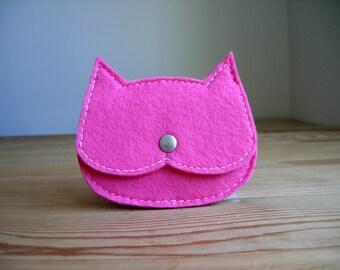 SALE 50% OFFhot pink  Cat pouch, kids felt cat coin purse tiny pouch kids gift idea, crazy cat lady gift, ,vegan pouch