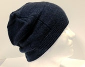 Navy Blue Cashmere Beanie * Form Fitting * 100% Cashmere * Women Men M/L  by Tejidos on Etsy Upcycled Sweater Hat