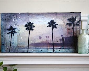 "Santa Monica Sunset - 20"" x 10"" original framed mixed media Californi painting on canvas"