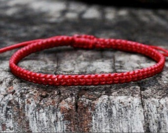 Dark Red Cord Knot Bracelet