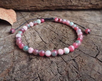 Candy Jade Unisex Knot Anklet, 6mm beads