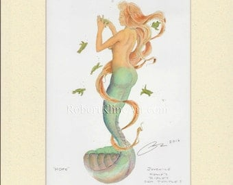 """Mermaid Gwen with Kemp's Ridley Turtle Art Signed Robert Kline Matted 5"""" x 7"""" Print Beach House Fantasy Nautical Gift Boat Home Office Decor"""