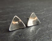 Triangle sterling silver stud earrings, silver studs, triangle earrings, embossed silver earrings, posts, metalwork jewelry, pebble design