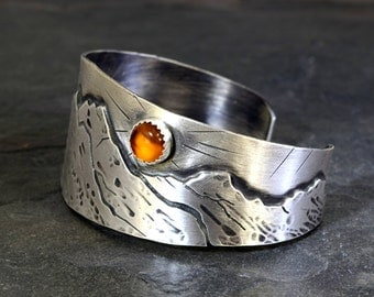 Harvest Moon over Mountains Handmade Artisan Sterling Silver Cuff Bracelet with Amber – Solid 925 BR1202