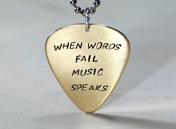 When words fail music speaks bronze guitar pick necklace - NL812