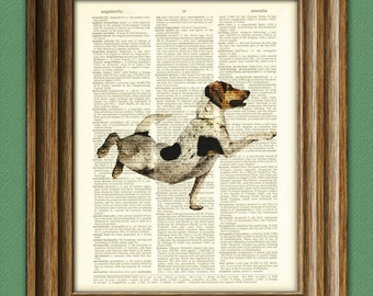 Jack Russell Dog is ready for his vinyasa Yoga pose dog beautifully upcycled dictionary page book art print