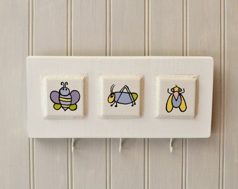 Mosaic Key Holder - Wall Plaque - Painted Tiles - Insects - Bugs - Children Room Decor - Nursery