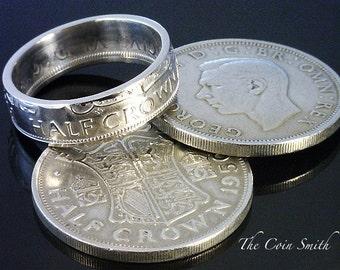BRITISH Half Crown Coin Ring  - (( King George VI - British Half Crown )) - (Choose The Year & Ring Size You Want)
