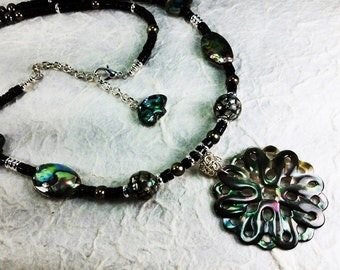 Mother of Pearl Mandala Pendant Long Necklace with Black Onyx, Abalone, Paua, and Pearls