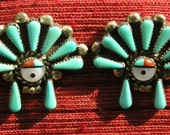 Reserved for Poodle -- Zuni Sterling Silver Petit Point Turquoise Sunface Earrings