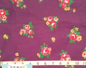 Vintage Purple Floral with Placed Stripe, 1 yard