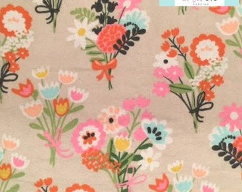 LAST YARD,  Tan Floral FLANNEL Fabric, 1 yard
