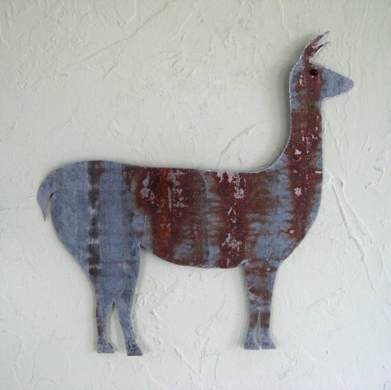 Metal Wall Decor Animals : Metal wall art sculpture llama farm animal folk recycled