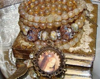 Mary's golden crown prayer meditation wrap bracelet Pamelia Designs