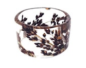 Size Small Resin Bracelet with Black Sorghum.  Resin Bangle. Resin Bracelet with Pressed Flowers. Resin Jewelry.  Engraved Bracelet.