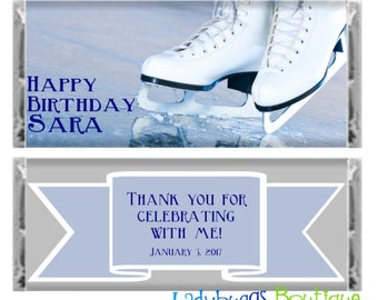 Ice Skating Happy Birthday Candy Bar Wrapper Party Favor