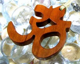Yoga  / Om or Aum Symbol / Pendant  / Charm / Cherry Wood