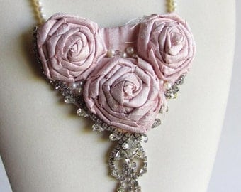 Pink Silk Rose Bib Statement Necklace - Bridal Jewelry - Wedding Necklace - Wholesale Jewelry - Dupioni Silk Rose Necklace