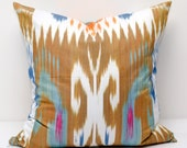 20x20 Brown blue orange ikat pillow cover, ikat pillows, ikats, ikat cushion,  brown pillows, blue orange, ikat pillow, ikats, cushion