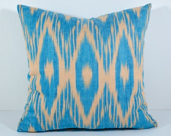 15x15, blue ikat pillow covers, ikat pillow, blue brown cushion, case, cotton pillow cover, decorative pillow, design, blue pillows, blue