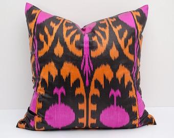 18x18 orange pink ikat pillow cover, cushion case, orange pillows, pink pillows, ikat pillow case, decorative pillow, orange black pink